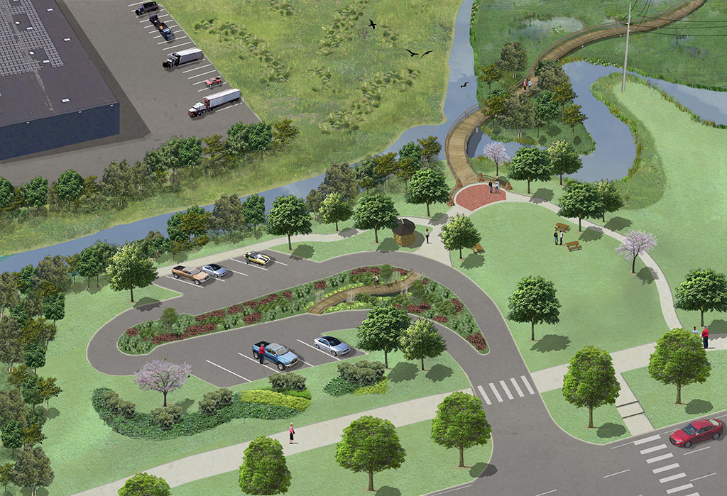 south wilmington wetlands project, west gateway view,