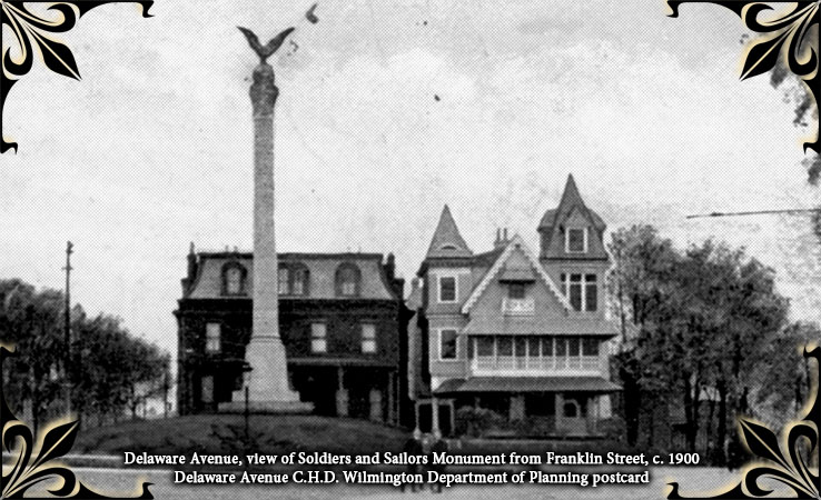 Delaware Avenue City Historic District, Delaware Avenue, Soldiers and Sailors Monument, c. 1900,