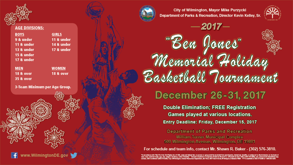 Sign up for the Ben Jones Memorial Holiday Basketball Tournament.