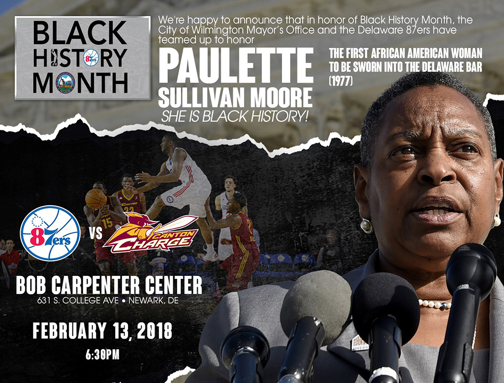 The Delaware 87ers honor Paulette Sullivan Moore on Tuesday, February 13.