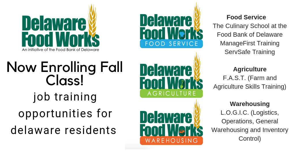 Click this banner to enroll in the Delaware Food Works job training classes.