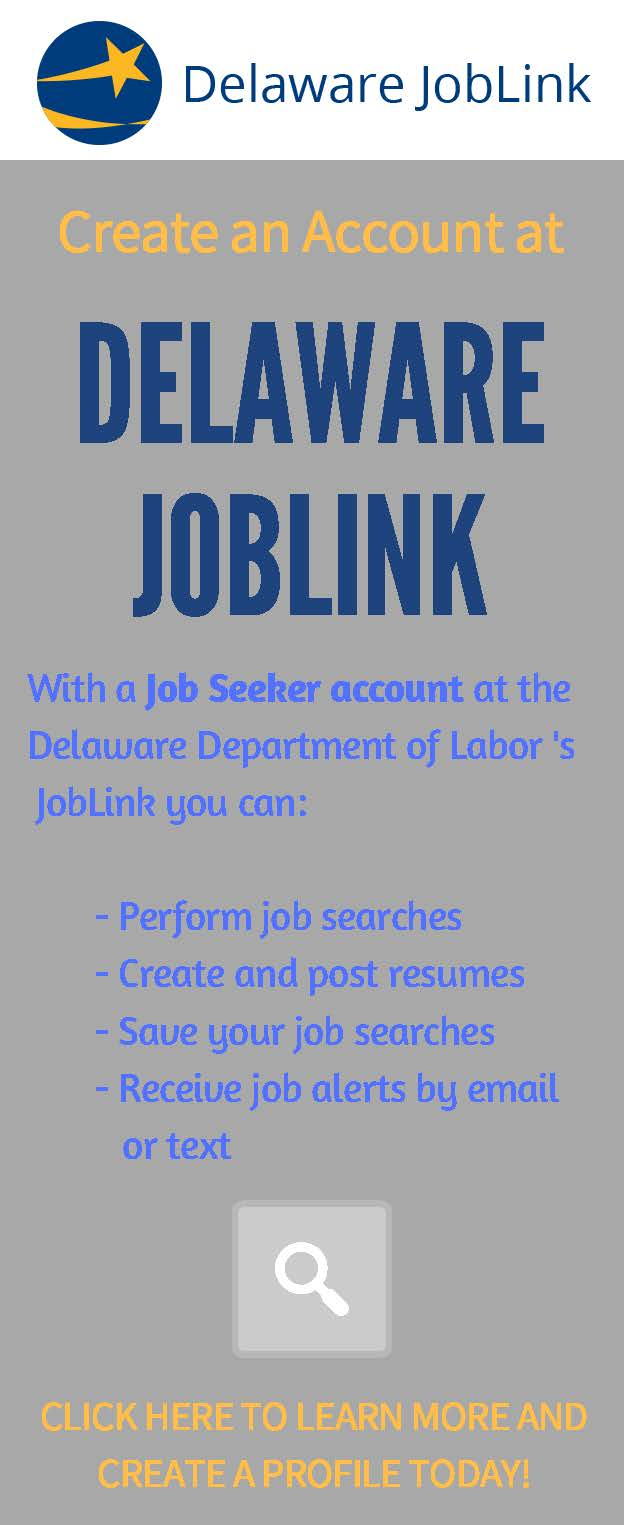 Create a job seeker account at Delaware JobLink.