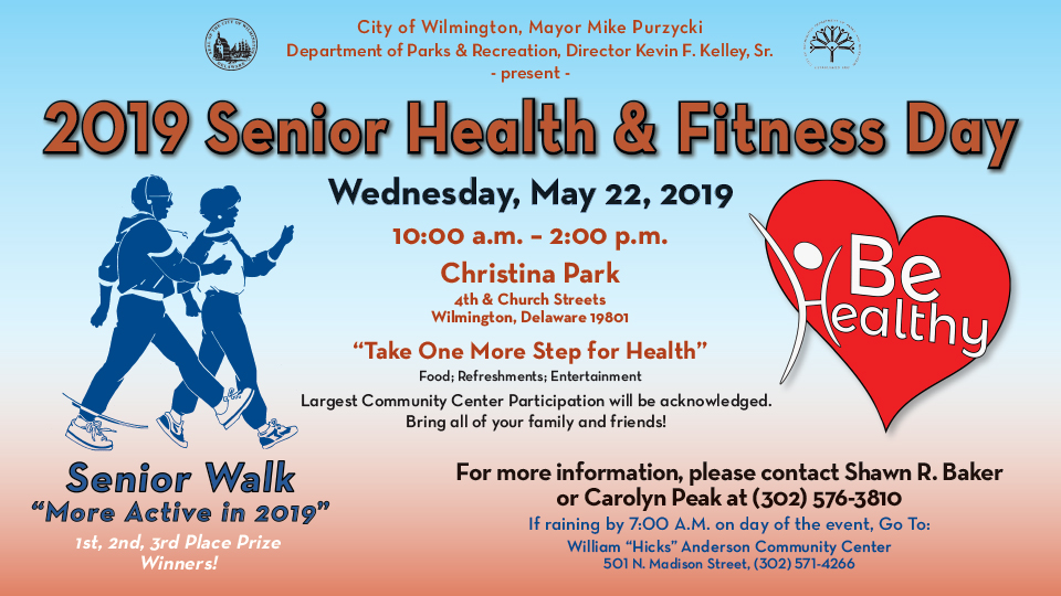 Seniors, families, and friends are invited to participate in the 2019 Senior Senior Health and Fitness Day on May 22.